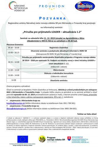 """Informačný seminár """"Príručka pre prijímateľa LEADER - aktualizácia 1.2"""""""